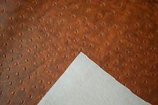 "Marine Vinyl Fabric Saddle Brown Ostrich Emu 15 Feet Boat Car Upholstery 54"" W"