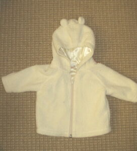 Hanna Andersson White Fleece Jacket with Zip, Hood and Ears - Sz 60 3 - 6 months