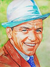 "11,69 × 15,75"" Frank Sinatra ~golden voice~ watercolor SIGNED and DATED"