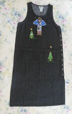 Women's Christmas Dress Large Denim Jumper Dress Angel Quacker Factory