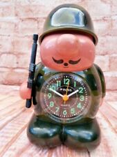 More details for vintage collectable soldier quartz alarm clock by ross with reveille bugle call