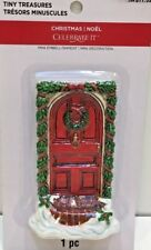 Tiny Treasures Holiday Village Accessory, Red Door W/Green Garland, New in Pkg