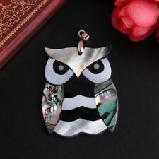 Natural Colorful Abalone Shell Jewelry Owl Shape Necklace Insertion Pendant