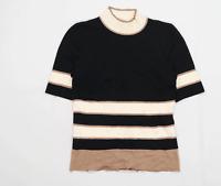 Next Womens Size 14 Striped Black Top (Regular)