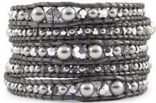 Chan Luu Graduated Light Grey Pearl Mix Wrap Bracelet on Grey Leather