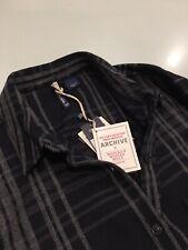 Woolrich. Women's cotton / wool shirt. Blue & grey check. Size XL. RRP £220.