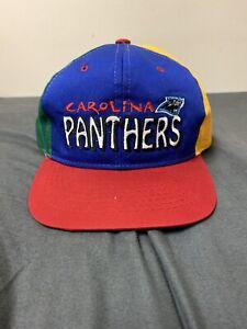 Vintage Youth Carolina Panthers Rainbow Colored Snapback Hat Retro NFL