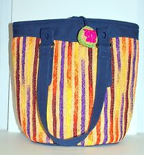 Awesome Lucky Brand Straw Tote Handbag Purse Colorful Fun Bag