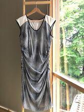 Lovely COUNTRY ROAD Silk Black Cream Ruched Pencil Sheath Dress Sz 14 L EUC
