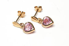 9ct Gold Heart Drop Pink CZ earrings Gift Boxed Made in UK Wedding Gift