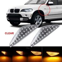2× Dynamic LED Side Indicator Turn Signal Light White For BMW X3 X5 X6 F25 E70