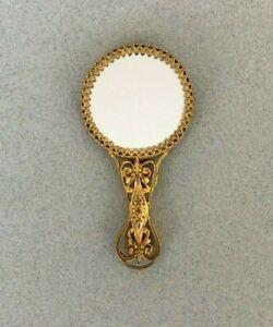SMALL ORNATE VINTAGE HANDBAG MIRROR antique brass gold tone small miniature