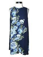 MADISON LEIGH Size 16 Shift Dress Blue Green White Floral Sleeveless Knee Length