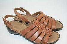 "St John's Bay Slingback Lt Brown 1.5"" Heel Leather Sandals Size 9 M Womens"