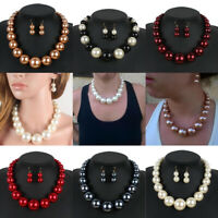 Women Fashion Pendant Chain Chunky Choker Statement Bib Necklace Earrings Set