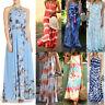 Women Sleeveless Bohemia Long Maxi Dress Summer Sexy Beach Party Sundress Liu9