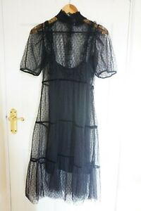 H&M Spotted Mesh Midi Dress, Black, Smocked Frills Flared, Tiered Skirt, Size S
