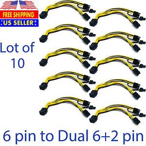 10 pcs PCIE 6 pin Female to Dual PCI-E 8 pin(6+2) Male GPU Cable Splitter 9 inch
