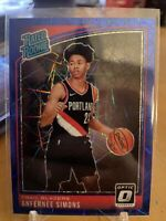 2018-19 Donruss Optic Anfernee Simons Rated Rookie Blue Velocity Prizm #186 RC