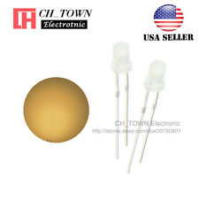100pcs 3mm Diffused White Color Warm-White Light Round Top LED Emitting Diodes