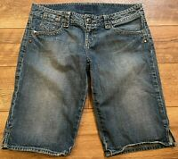 GUESS Stretch Distressed Low Rise Longer Bermuda Blue Denim Jean Shorts wmns 32