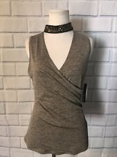 NWT BCX Choker Faux Wrap Top Sz L Gray Gold Embellished Tank Ruching New $39