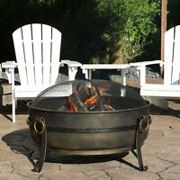 "Sunnydaze 34"" Fire Pit Steel Cauldron Design with Spark Screen and Fire Poker"