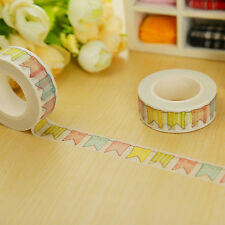 1X Colorful Flags Washi Tape DIY Paper Sticky Tools Adhesive Sticker Decor M&C