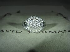 DAVID YURMAN AUTHENTIC ALBION STER SILVER 8mm PAVE DIAMOND RING SIZE 6 D.Y POUCH