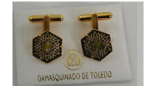 Damascene Gold Mens Cufflinks Hexagon Geometric by Midas of Toledo Spain 2530Geo