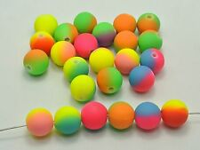 """100 Multi-Color Neon Beads Acrylic Round Beads 12mm(1"""") Rubber Tone"""