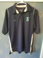 Nike Fit MLB Seattle Mariners Mens Blue Short Sleeve Polo Shirt M Medium
