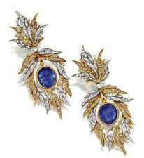 9Ct Oval Blue Sapphire Syn Diamond Peacock Feather Earrings White Gold FN Silver
