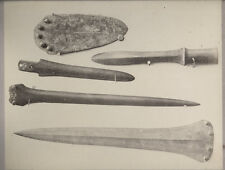 c.1870 PHOTO BRITISH MUSEUM ARTEFACT THOMPSON - FIVE KNIVES OR DAGGERS OF BRONZE
