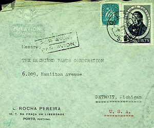PORTUGAL 1945 WWII $1.75+ $3.50 ON AIRMAIL COVER FROM LISBOA TO DETROIT MICH USA