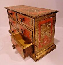 Vintage Florentine Wooden Mini Dresser Drawer Jewelry Box Trinket -  Gold Gild