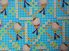 2 SHEETS OF THICK GLOSSY CHILDREN'S /BOYS BIRTHDAY WRAPPING PAPER (crosswords)