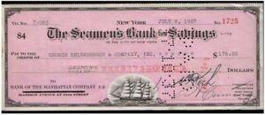 1930's SEAMEN'S BANK TREASURER's DRAFT w CLIPPER SHIP! NOW JPMORGAN CHASE cv $30