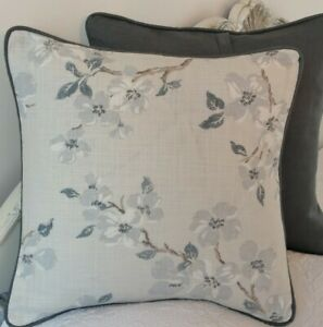 "16"" Laura Ashley Iona Silver Fabric Cushion Cover Piped Austen dark steel"