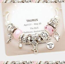 Taurus Zodiac Sign Murano Glass Silver Pink Multi Charm European Bead Bracelet