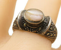 925 Sterling Silver - Vintage Pink Opal & Marcasite Cocktail Ring Sz 9 - R8918