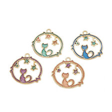 Lot of 16 Colorful Enamel Plated Golden Metal Cute Cat and Star Pendants Charms