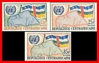 CENTRAL AFRICA 1961 UNO/ONU imperforated SC#14-16 MNH MAPS, FLAGS (d1)