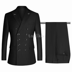 4XL 2Pcs Suits Jacket Pants Tuxedos Double Breasted Buttons Business Formal Mens