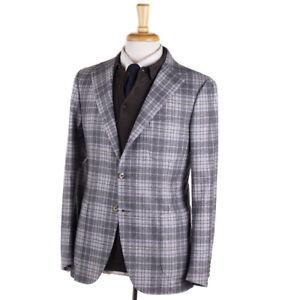 NWT $2600 BORRELLI NAPOLI Gray and Lavender Check Flannel Wool Sport Coat 38 R