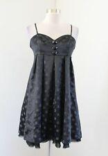 Vtg Betsey Johnson Black Polka Dot Empire Waist Pleated Dress Size 4 Cocktail