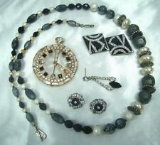 VINTAGE DESTASH LOT BLACK WHITE LES BERNARD RHINESTONES FOR REPURPOSE CRAFT WEAR