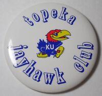 VINTAGE 1980s KANSAS JAYHAWKS TOPEKA JAYHAWK CLUB LARGE PIN KU BASKETBALL BIG 8