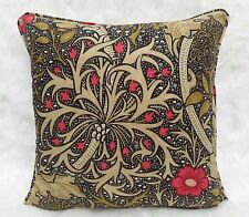"William Morris Fabric Cushion Cover 'Seaweed' Ebony/Poppy - 18"" - 100% Cotton"