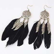 Triple Feather Black Gold Bronze Long Earrings Dangle Long Drop Boho Fashion UK